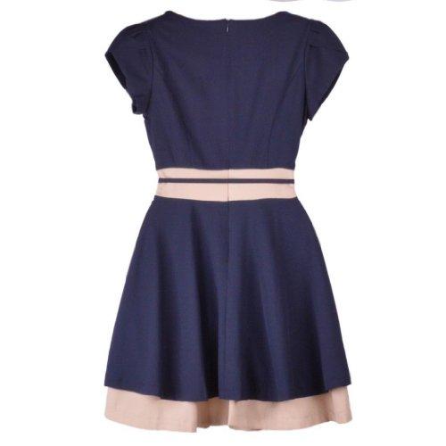 Damen Rundhals kurzaermelig Chiffon Tunika kleid mit G¨¹rtel Nachtblau