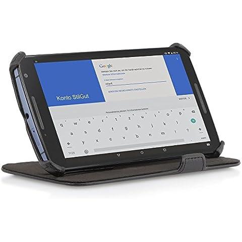 StilGut® UltraSlim Case, Tasche mit Stand- und Präsentationsfunktion für Google Nexus 6, schwarz