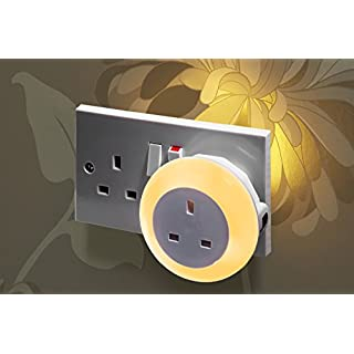 Auraglow Automatic Plug In Multi Colour Plug Through LED Nursery Night Light with Dusk till Dawn Daylight Sensor