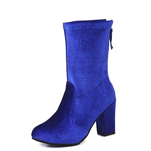 Donne Moda Fibbia Stivali, Tefamore Le Signore Caldo Tacchi Alti Scarpe Blu