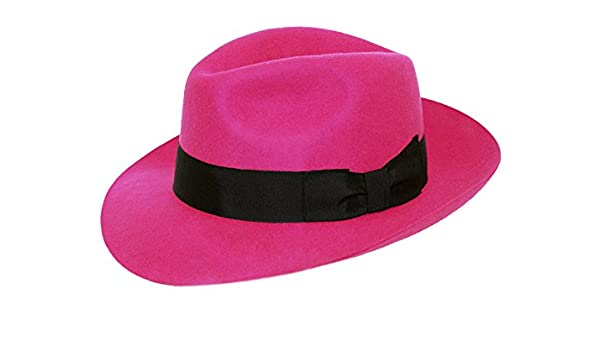 DH Cerise Pink Ladies Fedora Felt Trilby Hat with Wider Brim 100% Wool  (59)  Amazon.co.uk  Clothing cd8bbd60e1ac