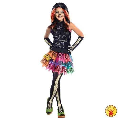 Lively Moments Edles Kostüm Monster High Skelita Calaweras mit Perücke Kleid Gr. M = 116 - 128 (Skelita Kostüm Perücke)