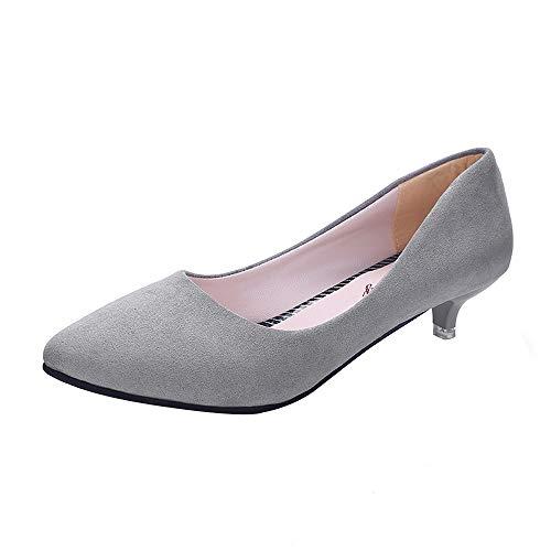 Klassischer Pumps Damen Basic Flandell Mittelhohe Elegante Schuhe Frühling Absatzschuhe Celucke (Grau, EU39)