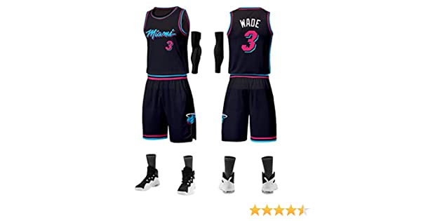 Tops + Shorts NBALL-HU Miami Heat # 3 Wade Gilet De Basket-Ball Ample Respirant sans Manches Et Respirant pour Lentra/înement The Flash V/êtement De Surv/êtement Noir