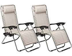SUNMER Set Of 2 Grey Heavy Duty Textoline Zero Gravity Chairs With Cup And Phone Holder | Garden Outdoor Patio Sun Loungers | Folding Reclining Chairs | Lounger Deck Chairs