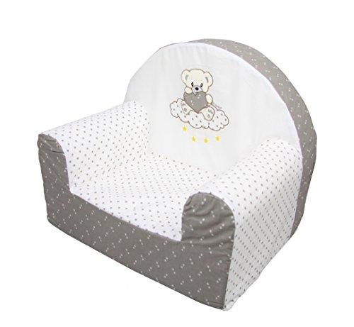 Bubaba - Kindersessel in 12 Motiven, formstabiler Schaumsoff - extra leicht nur 1kg - EU Produkt, Model:Bear on Cloud