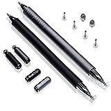 Rock Ninja 2019 Neu Stylus Pen, 3 en 1 Plumas de Pantalla Táctil Capacitiva Universal para Dispositivos de Pantallas Capacitivas, Estiletes de Metal/Bolígrafo, Negro + Gris Espacio