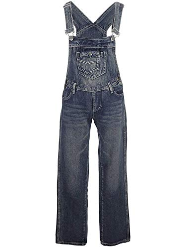 ANNA-KACI Frauen Denim Blue Jeans Gerades Bein Taschen Latzhose