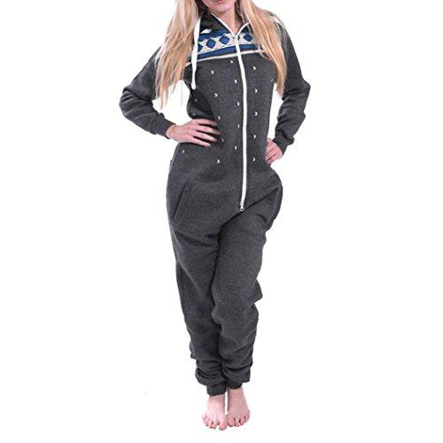 Elecenty Damen 3D Drucken Jumpsuit Pyjamas Schlafanzug Frauen Langarm Weihnachten Elch Bedruckt Overall Nachtwäsche Winter warm lang mit Kapuze Hosenanzug Anzug Sleepwear Overall (L, Dunkelgrau)