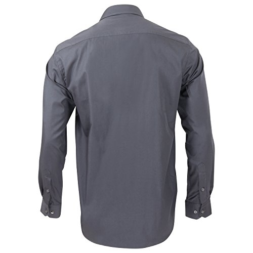 Captain Classic Fit Herren Hemden (in 24 Verschiedenen Farben) Langarm-Hemd 100% Baumwolle Anthrazit