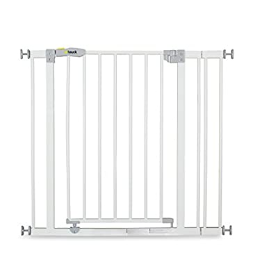 Hauck Open N Stop stair gate including 9 cm extension, gate guard for children, 84 - 89 cm, without drilling, White  Denny Shop