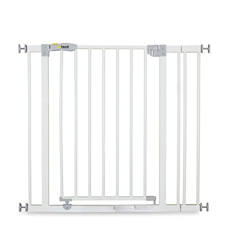 Hauck Open N Stop stair gate including 9 cm extension, gate guard for children, 84 - 89 cm, without drilling, White