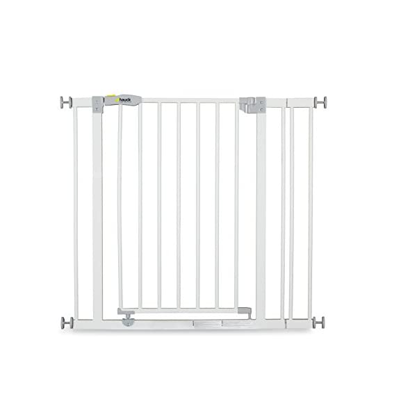 Hauck Open N Stop stair gate including 9 cm extension, gate guard for children, 84 - 89 cm, without drilling, White Hauck Easy to fix Locking mechanism for double safety Opens to both sides 1