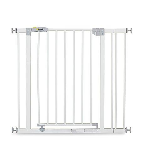 Hauck Open N Stop Treppenschutzgitter, inklusive 9 cm Verlängerung/Türgitter/84-89 cm/ohne Bohren/kombinierbar mit Y-Spindel für Geländer/erweiterbar bis 110 cm/zwei Richtungen/Metall/white(weiß)