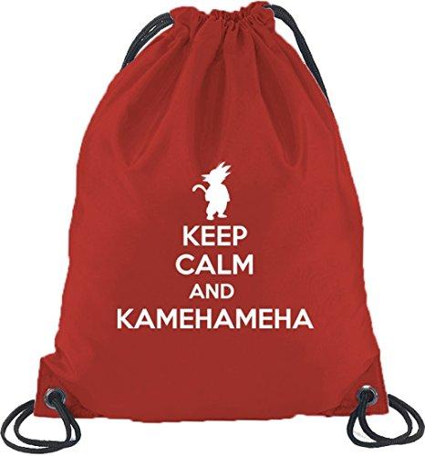 Shirtstreet24, Keep Calm And Kamehameha, Turnbeutel Rucksack Sport Beutel, Größe: onesize,Rot