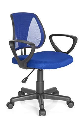 hjh OFFICE 725101 Kinder- und Jugenddrehstuhl KIDDY CD Netzstoff Dunkelblau Schreibtischstuhl mit Armlehne höhenverstellbar