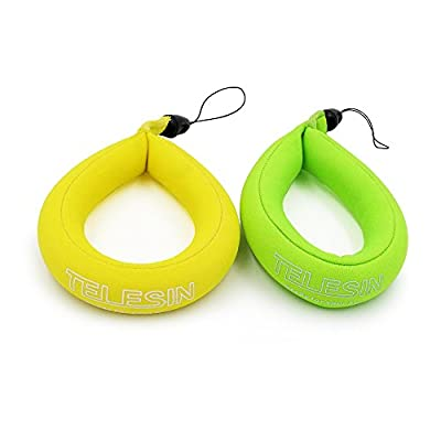 TELESIN Floating Strap 2-pack for Underwater Gopro & Action Cameras, Waterproof Camera Float Wrist Strap for Swimming, Diving, Sea Fishing or Other Water Sports from TELESIN