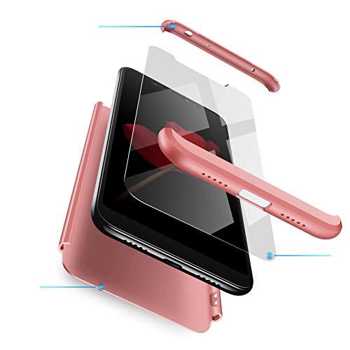 Xiaomi Redmi Note 6 Pro Hülle,Xiaomi Redmi Note 6 Pro Schutzhülle[Mit Bildschirmschutz]3 in 1 Ultra dünn Case 360 Grad Schutz Tasche Etui Handyhülle cover für Xiaomi Redmi Note 6 Pro-Rose Gold