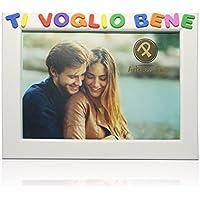 Cornici per foto in legno con la scritta Ti Voglio Bene, da appoggiare o appendere, misura 13x18 cm Bianca. Ideale per la famiglia o per regalo.