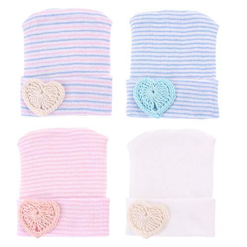 Yinuoday Neugeborenes Baby Krankenhaus Hut Kindergarten Beanie Mütze Cap Stripe Strickmütze mit großen Bogen (4 Stück Herzform) -