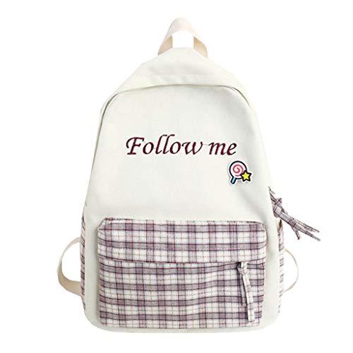 DOFENG Damen Wasserdicht Nylon Brief Gitter Drucken Rucksack Schultaschen Daypack Handtaschen Tagesrucksack Backpack Umhängetasche Reiserucksack für Schule Reise Arbeit (violett, Eine Größe) -