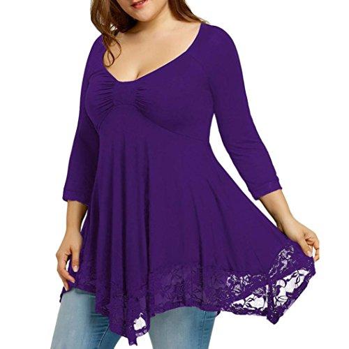 MRULIC Frauen Große Größe Spitze Hemd Lange Hülsen Beiläufige Lange Hemd Oberseiten-Bluse (EU-46/CN-XL, Lila)