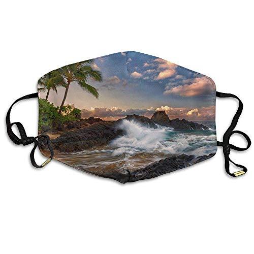 Unisex Wailea Makena Beach Maui Hawaii Beautiful Sunset Comfortable Anti Dust Mouth-Muffle Masks Mouth Face Masks