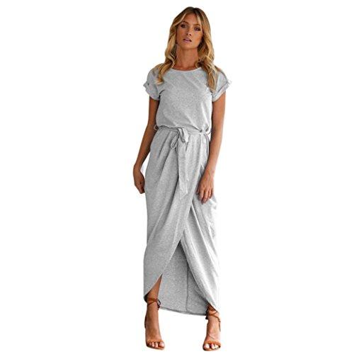 ITISME Frauen-O-Ansatz beiläufiges Boho Langes Maxi Kleid-Abend-Partei-Strand Kleidet Sommerkleid (S, Gary)