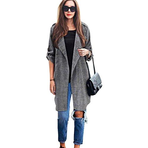 Mantel damen Kolylong® Frau dünnen Mantel Herbst mode windbreaker Frauen beiläufig lange Ärmel Strickjacke Kurze Jacke Bluse (XL, Grau) (Sleeve Kabel Long Womens)