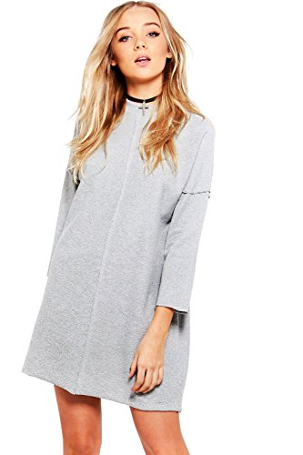 Grau Damen Eleanor Mesh Shoulder Sweat Dress Grau