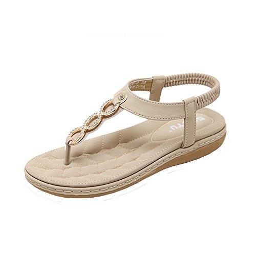 Damen Sandaletten Elegant Schuhe, Sunday Frauen Bohemian Sandalen Sommer Strass Flach Sandaletten PU Leder Zehentrenner Pu-frauen-schuhe