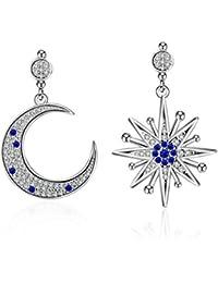 Hanie Damen Ohrringe Irregulär Stern und Mond Ohrhänger 925 Sterling Silber Saphir Blau und Weiß Zirkonia Unregelmäßige Asymmetrie Ohrschmuck für Frauen Modern Partyschmuck