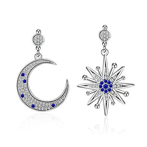 Hanie Damen Ohrringe Irregulär Stern und Mond Ohrhänger 925 Sterling Silber Saphir Blau und Weiß Zirkonia Unregelmäßige Asymmetrie Ohrschmuck für Frauen Modern...