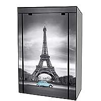 EBS Portable Canvas Wardrobe Closet Cupboard Clothes Shoe Storage Hanging Rail Shelves - Eiffel Tower frame