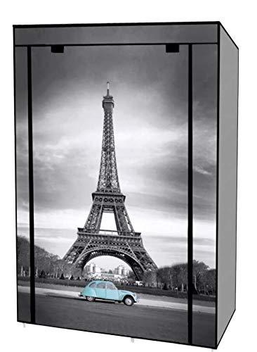 Ropero Armario Portátil Plegable Resistente Closet Organizador de Ropa - Tela No Tejida / Torre Eiffel 105 x 45 x 158 cm