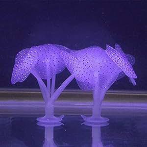 Roblue Corail Aquarium aArtificielle Fluorescence Deco pour Aquarium en Silicone Aménagement Paysager Ornement Décoration 2Pcs