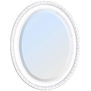BAROCKSPIEGEL miroir ovale avec cadre en bois 67 x 57 cm leila blanc/argent vieilli