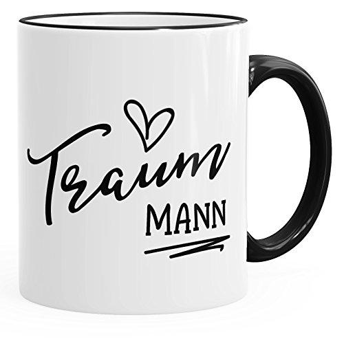 MoonWorks Geschenk-Tasse für Freund Mann Traummann Herz Partner Kaffee-Tasse Schwarz Unisize Herz Kaffee