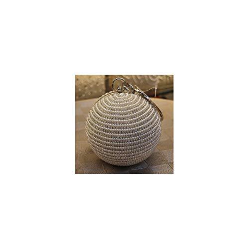 Voll Perlen Handtasche (ZYXB Womens Pearl Abendtasche Runde Ball Perle Perlen Clutch Geldbörse Mini Handtaschen Volle Perle Hochzeit Taschen,silver1)