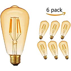 led edison bombillas vintage E27 rosca Edison lámpara 4W ST64 2700K luz blanca cálida bombilla retro decorativa ambar cálido blanco Bombillas incandescentes jaula de ardilla