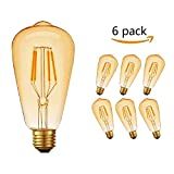 LED Edison Vintage Light Bulb, Massway 360° Wide Angle Light, E27 (4W/220V) 2600-2700K Amber Warm Retro light, Antique Vintage Style lamp - 6 pieces (Dual)
