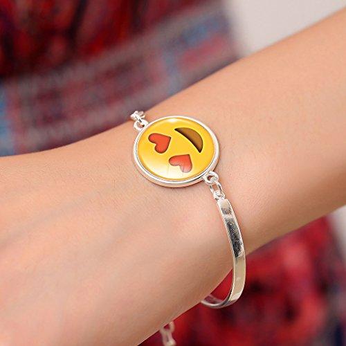 Jiayiqi Femmes Fascinantes Emoji Imprimer Bracelet Bling Verre Pierre Bijoux Bracelet Pendentif No 4