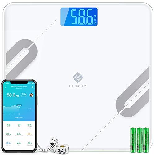 Etekcity Bluetooth Körperfettwaage Smart Digitale Waage mit APP für iOS & Android, Personenwaage für Körperfett, BMI, Gewicht, Protein, usw, größere Wiegefläche, gehärtetes Glas, bis 180 kg, Weiß