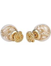 "SIX""Trend"" Damen Doppel Ohrstecker, modischer Back Front Ohrring mit goldenem Knoten und Draht in Acryl Perle, Kugelohrring (702-121)"
