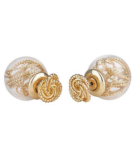 "SIX\""Trend\"" Damen Doppel Ohrstecker, modischer Back Front Ohrring mit goldenem Knoten und Draht in Acryl Perle, Kugelohrring (702-121)"
