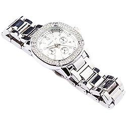 Herren-Silber Iced Out rund QUARZ Zifferblatt Fashion Armbanduhr Armbanduhr