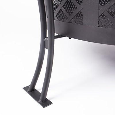 Rustler LP-0234A Feuerschale / Terrassenofen aus Stahl mit Abdeckung Funkenflug und Schürhaken, RS 570, schwarz von Rustler - Du und dein Garten