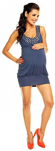 Zeta Ville - maternité - robe boule - de grossesse - tunique - femme - 024c Bleu Gris