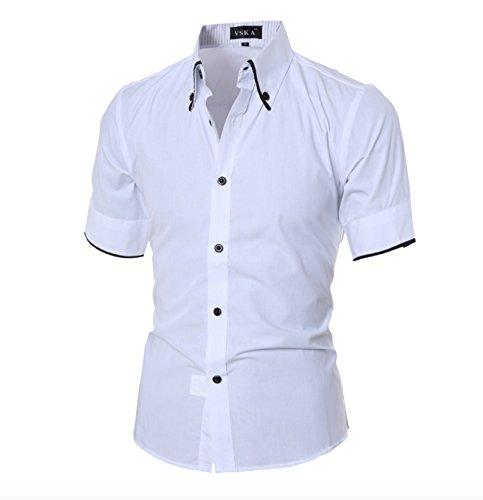Herren Sommer Kurzarm Freizeit Business Hemden Kontrast Kragen Slim Fit