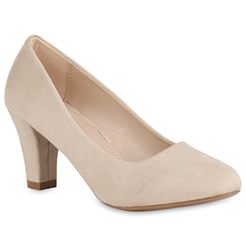 Klassische Damen Pumps Business Schuhe Basic Wildleder-Optik Heels 157353 Creme 38 Flandell